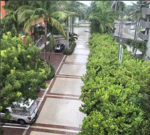 Top floor view of complete commercial driveway pressure cleaning